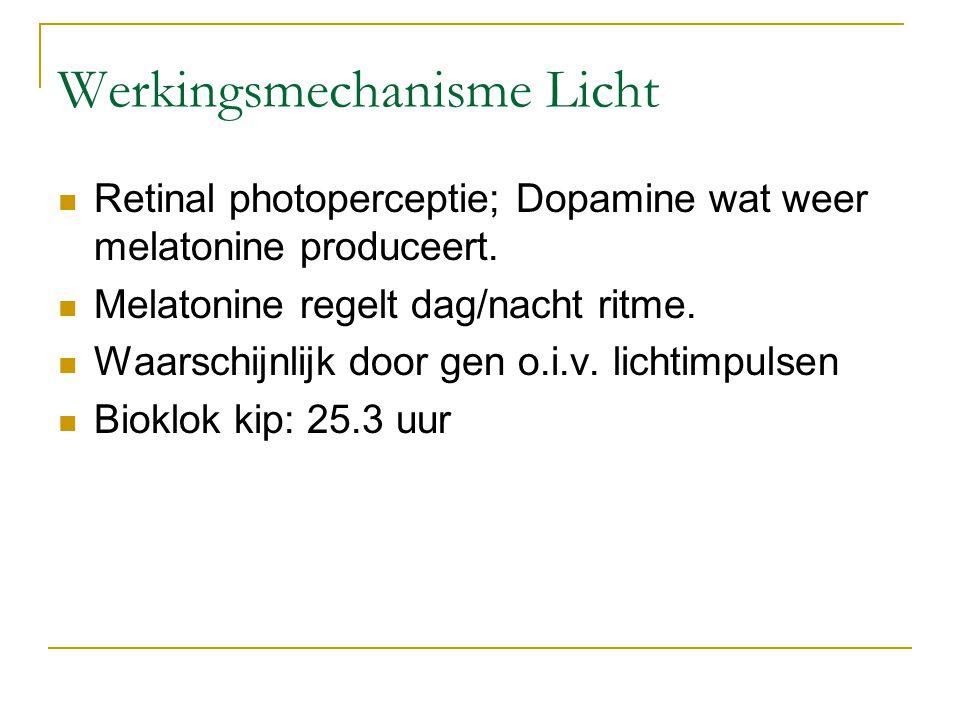 Werkingsmechanisme Licht Retinal photoperceptie; Dopamine wat weer melatonine produceert. Melatonine regelt dag/nacht ritme. Waarschijnlijk door gen o