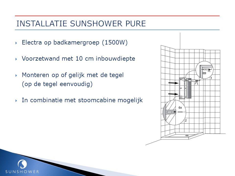  Electra op badkamergroep (1500W)  Voorzetwand met 10 cm inbouwdiepte  Monteren op of gelijk met de tegel (op de tegel eenvoudig)  In combinatie m