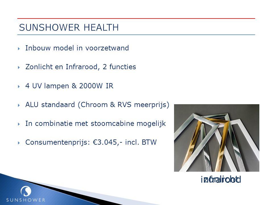  Inbouw model in voorzetwand  Zonlicht en Infrarood, 2 functies  4 UV lampen & 2000W IR  ALU standaard (Chroom & RVS meerprijs)  In combinatie me