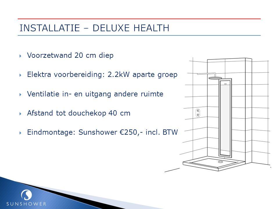  Voorzetwand 20 cm diep  Elektra voorbereiding: 2.2kW aparte groep  Ventilatie in- en uitgang andere ruimte  Afstand tot douchekop 40 cm  Eindmon