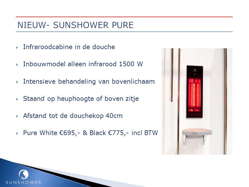  Infraroodcabine in de douche  Inbouwmodel alleen infrarood 1500 W  Intensieve behandeling van bovenlichaam  Staand op heuphoogte of boven zitje 