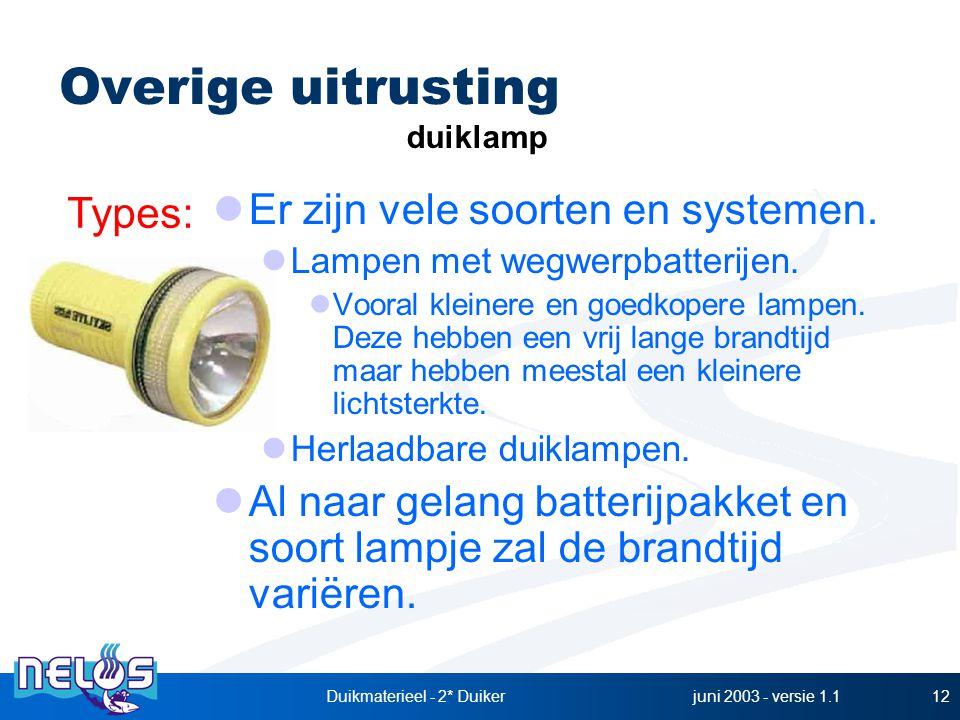 juni 2003 - versie 1.1Duikmaterieel - 2* Duiker12 Er zijn vele soorten en systemen. Lampen met wegwerpbatterijen. Vooral kleinere en goedkopere lampen