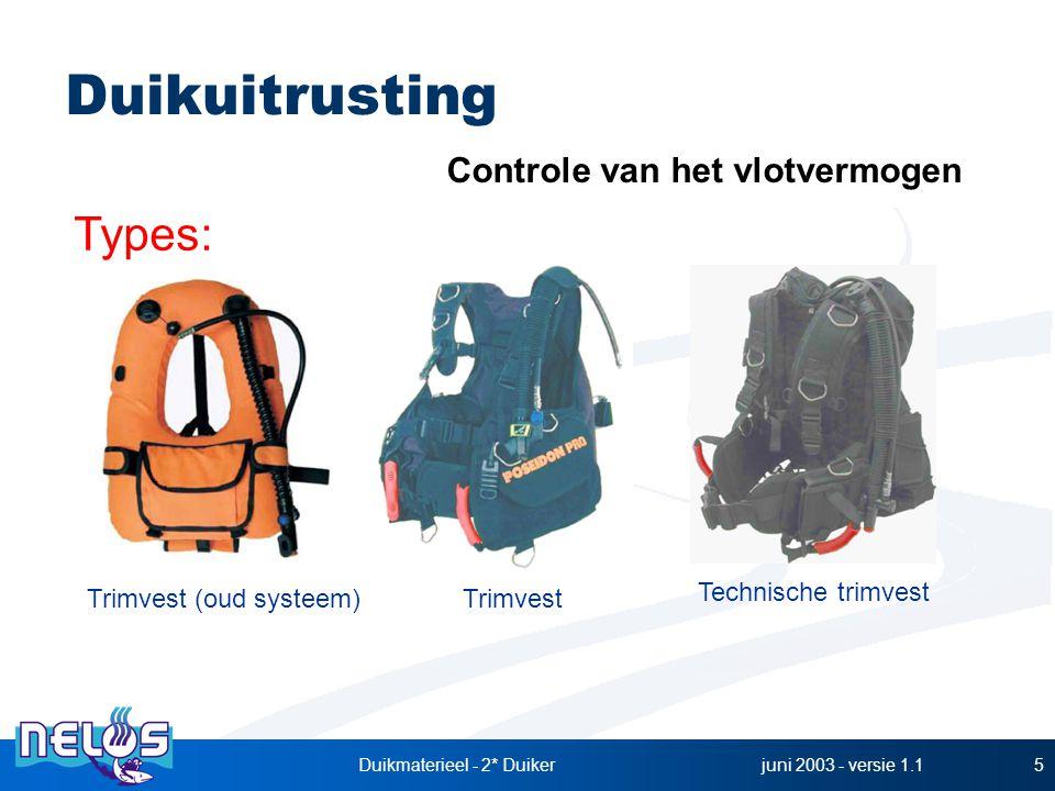 juni 2003 - versie 1.1Duikmaterieel - 2* Duiker5 Trimvest Technische trimvest Controle van het vlotvermogen Trimvest (oud systeem) Types: Duikuitrusti