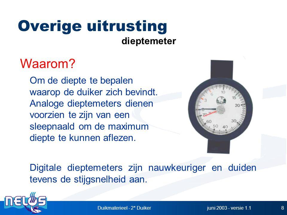 juni 2003 - versie 1.1Duikmaterieel - 2* Duiker8 dieptemeter Waarom? Om de diepte te bepalen waarop de duiker zich bevindt. Analoge dieptemeters diene