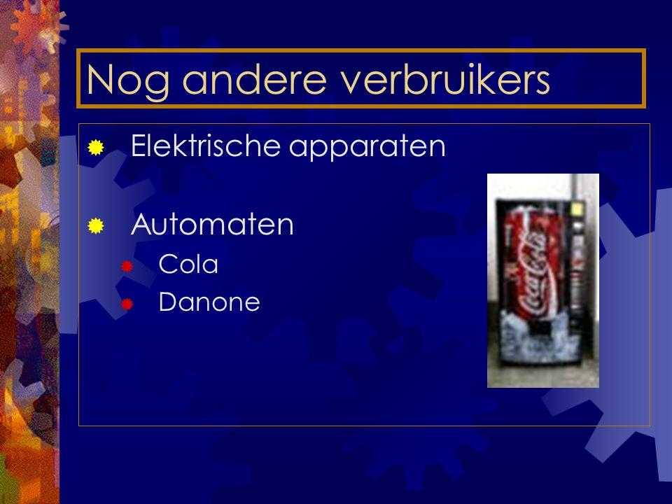 Nog andere verbruikers  Elektrische apparaten  Automaten  Cola  Danone