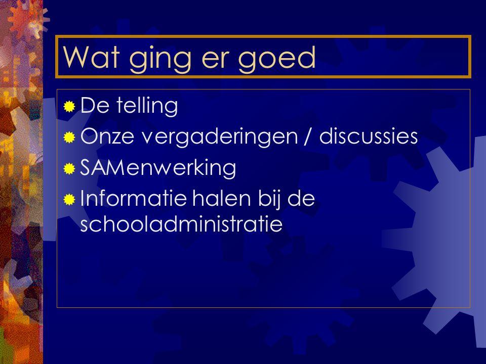 Wat ging er goed  De telling  Onze vergaderingen / discussies  SAMenwerking  Informatie halen bij de schooladministratie