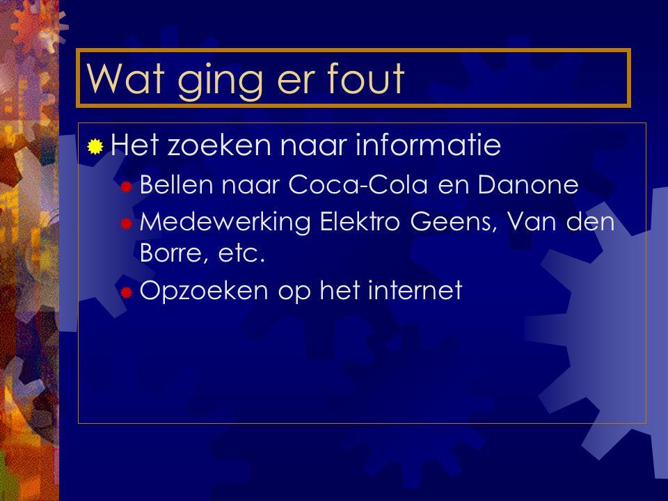 Wat ging er fout  Het zoeken naar informatie  Bellen naar Coca-Cola en Danone  Medewerking Elektro Geens, Van den Borre, etc.
