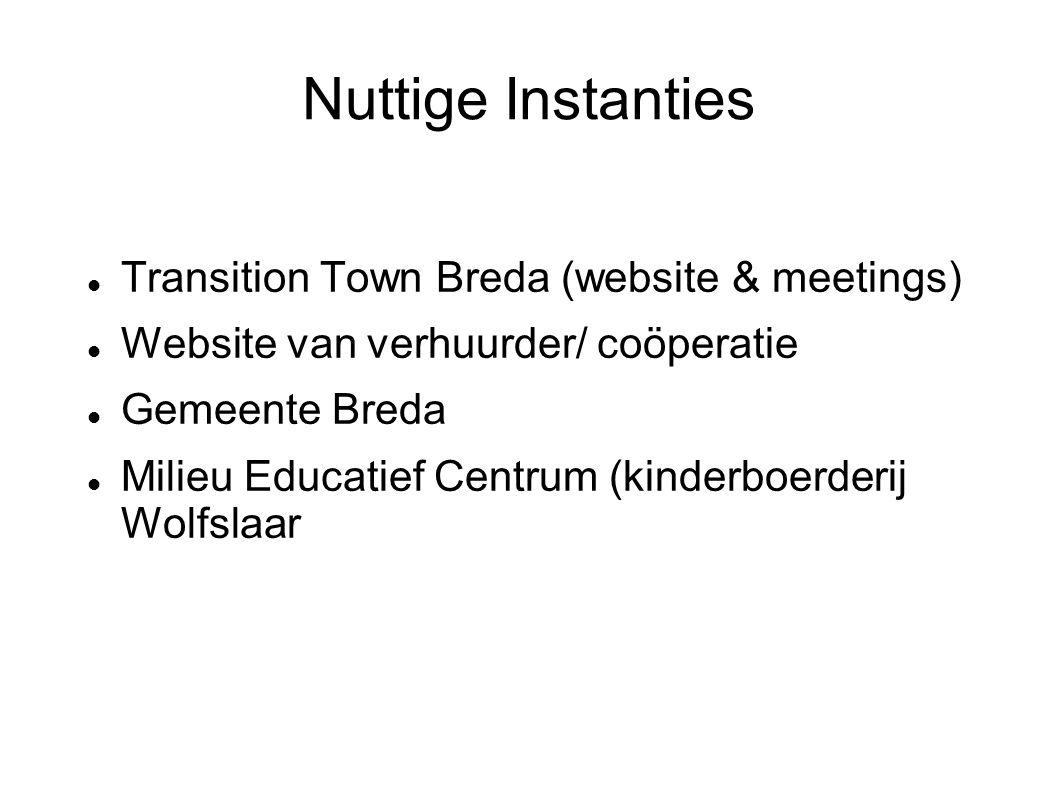 Nuttige Instanties Transition Town Breda (website & meetings) Website van verhuurder/ coöperatie Gemeente Breda Milieu Educatief Centrum (kinderboerderij Wolfslaar