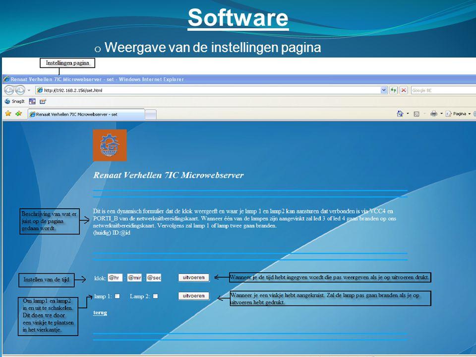 Software o Weergave van de instellingen pagina