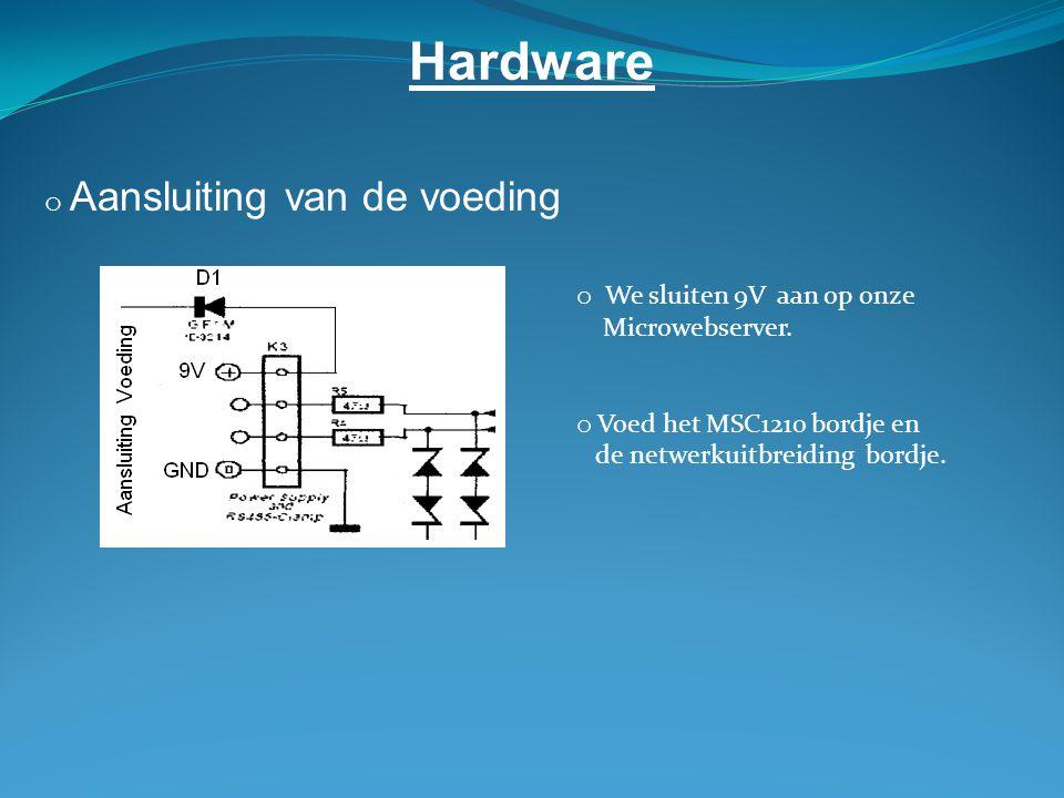 Hardware o Aansluiting van de voeding o We sluiten 9V aan op onze Microwebserver.