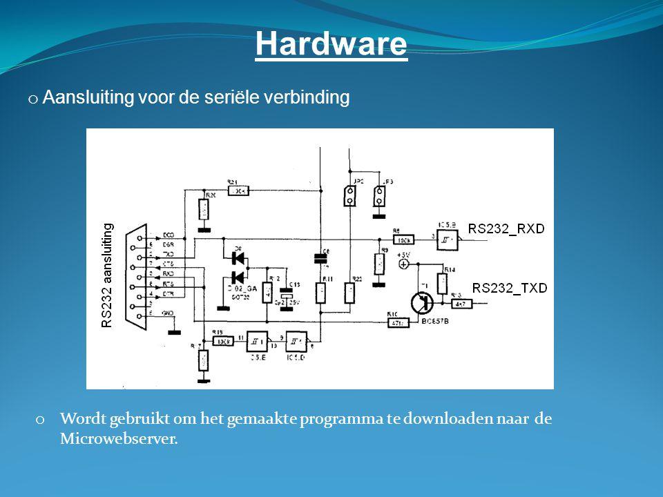 Hardware o Aansluiting voor de seriële verbinding o Wordt gebruikt om het gemaakte programma te downloaden naar de Microwebserver.
