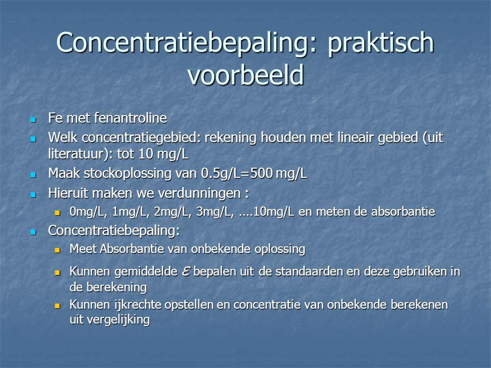 Concentratiebepaling: praktisch voorbeeld Fe met fenantroline Fe met fenantroline Welk concentratiegebied: rekening houden met lineair gebied (uit lit