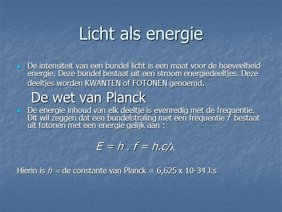 Licht als energie De intensiteit van een bundel licht is een maat voor de hoeveelheid energie. Deze bundel bestaat uit een stroom energiedeeltjes. Dez