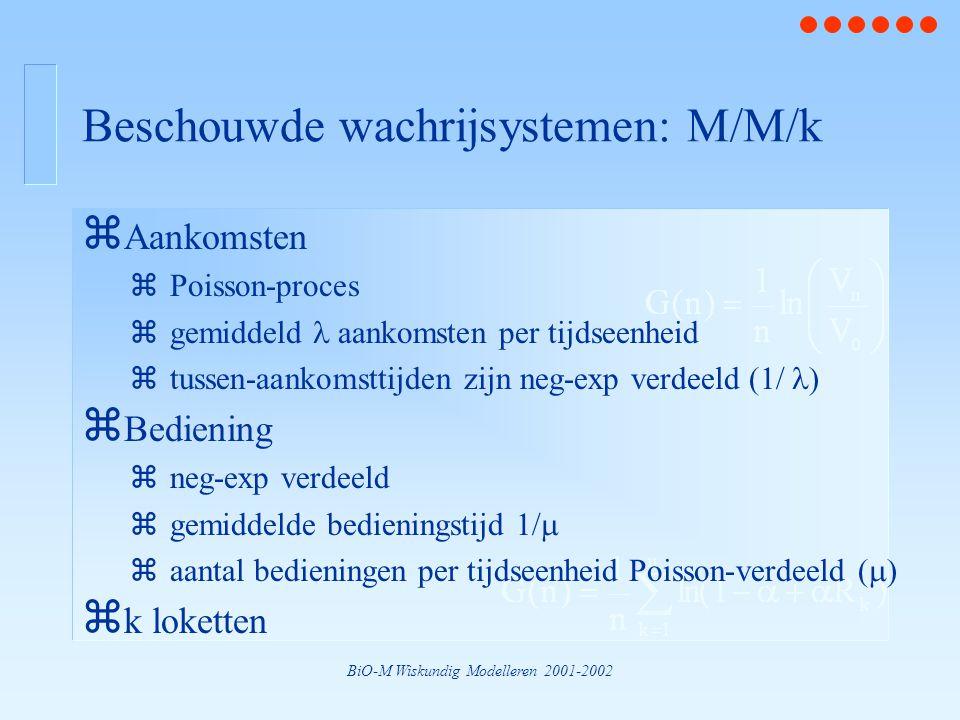 BiO-M Wiskundig Modelleren 2001-2002 Beschouwde wachrijsystemen: M/M/k z Aankomsten zPoisson-proces zgemiddeld aankomsten per tijdseenheid ztussen-aan