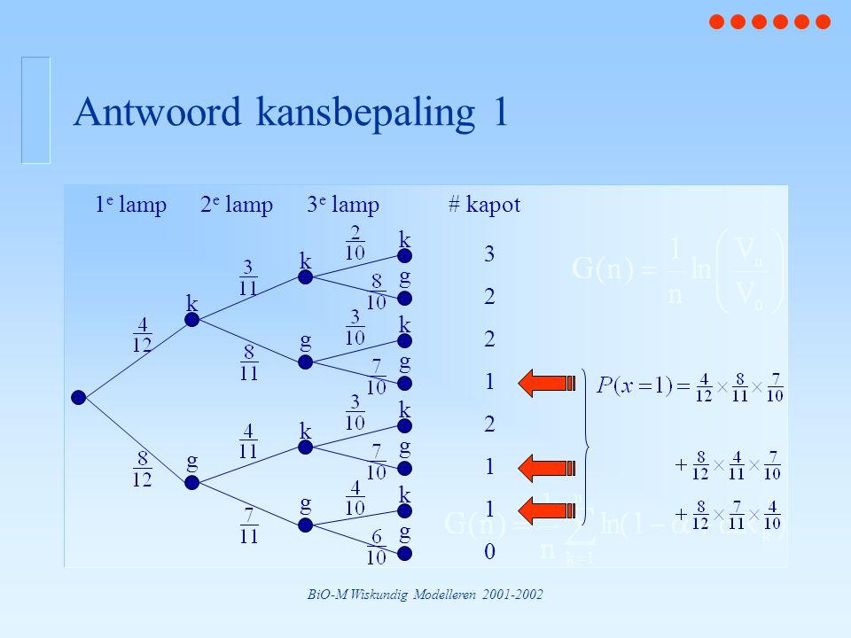 BiO-M Wiskundig Modelleren 2001-2002 Antwoord kansbepaling 1 1 e lamp2 e lamp3 e lamp k g k k g g k k k k g g g g 3 2 2 2 1 1 1 0 # kapot
