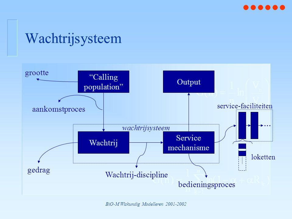 """BiO-M Wiskundig Modelleren 2001-2002 Wachtrijsysteem grootte aankomstproces Wachtrij-discipline gedrag bedieningsproces """"Calling population"""" Wachtrij"""