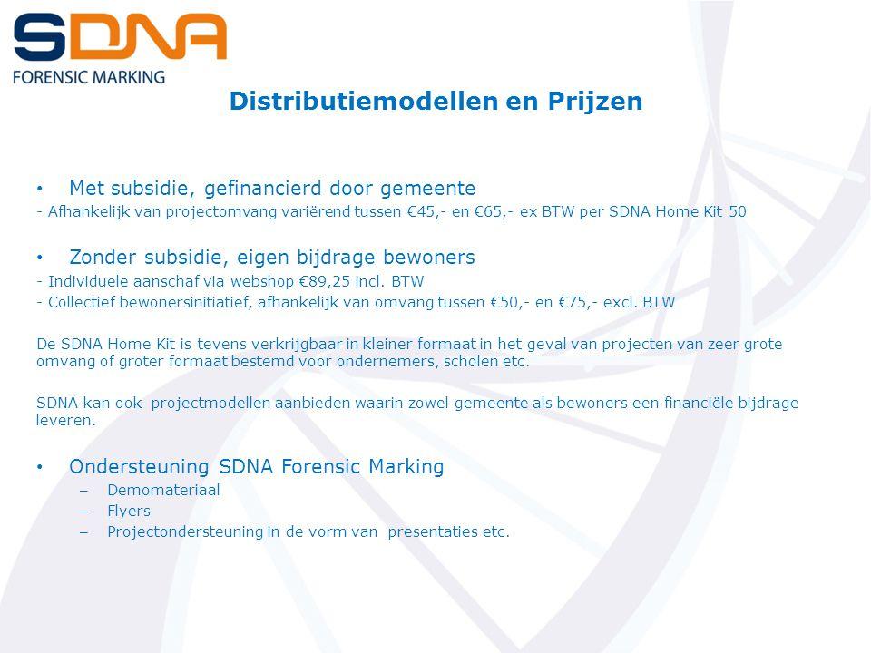 Distributiemodellen en Prijzen Met subsidie, gefinancierd door gemeente - Afhankelijk van projectomvang variërend tussen €45,- en €65,- ex BTW per SDNA Home Kit 50 Zonder subsidie, eigen bijdrage bewoners - Individuele aanschaf via webshop €89,25 incl.