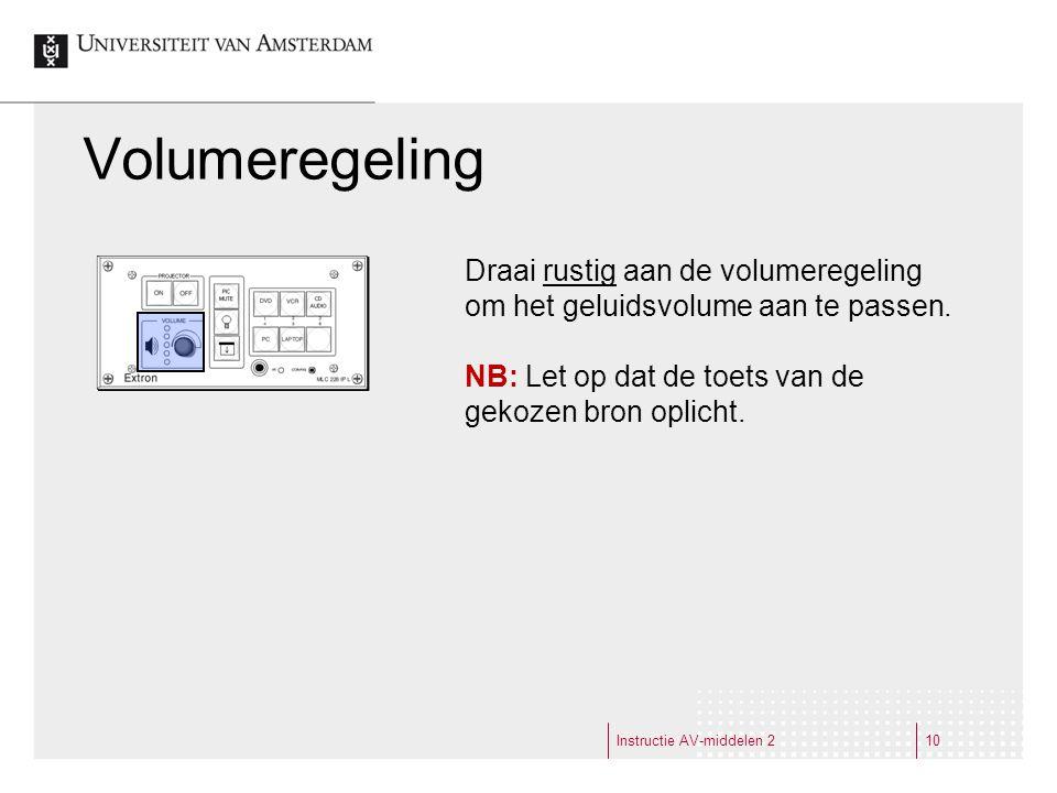 Volumeregeling Instructie AV-middelen 210 Draai rustig aan de volumeregeling om het geluidsvolume aan te passen.