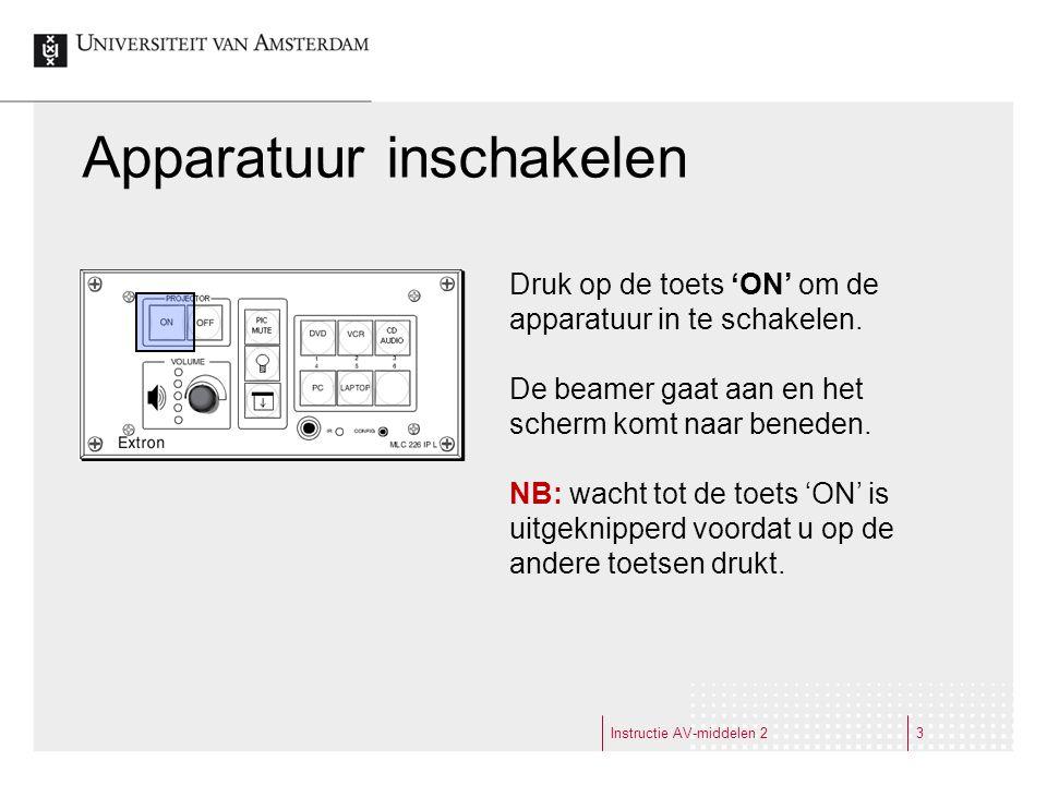 Apparatuur inschakelen Instructie AV-middelen 23 Druk op de toets 'ON' om de apparatuur in te schakelen.