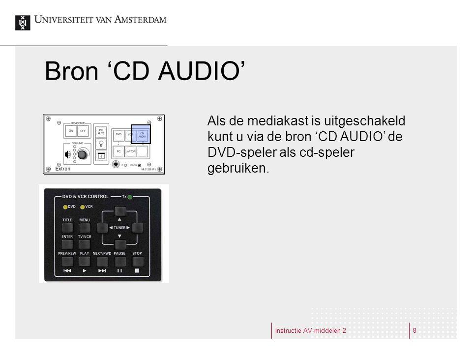 Bron 'CD AUDIO' Instructie AV-middelen 28 Als de mediakast is uitgeschakeld kunt u via de bron 'CD AUDIO' de DVD-speler als cd-speler gebruiken.