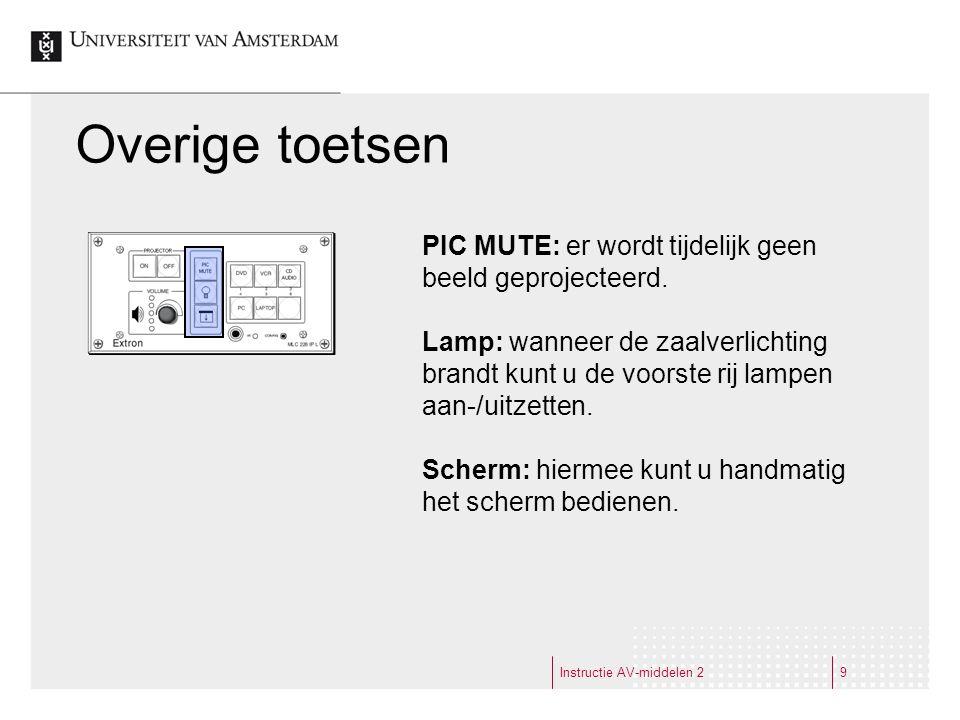 Overige toetsen Instructie AV-middelen 29 PIC MUTE: er wordt tijdelijk geen beeld geprojecteerd.