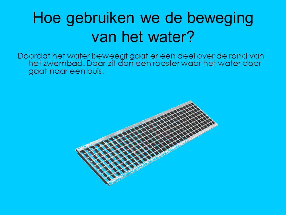 Hoe gebruiken we de beweging van het water? Doordat het water beweegt gaat er een deel over de rand van het zwembad. Daar zit dan een rooster waar het