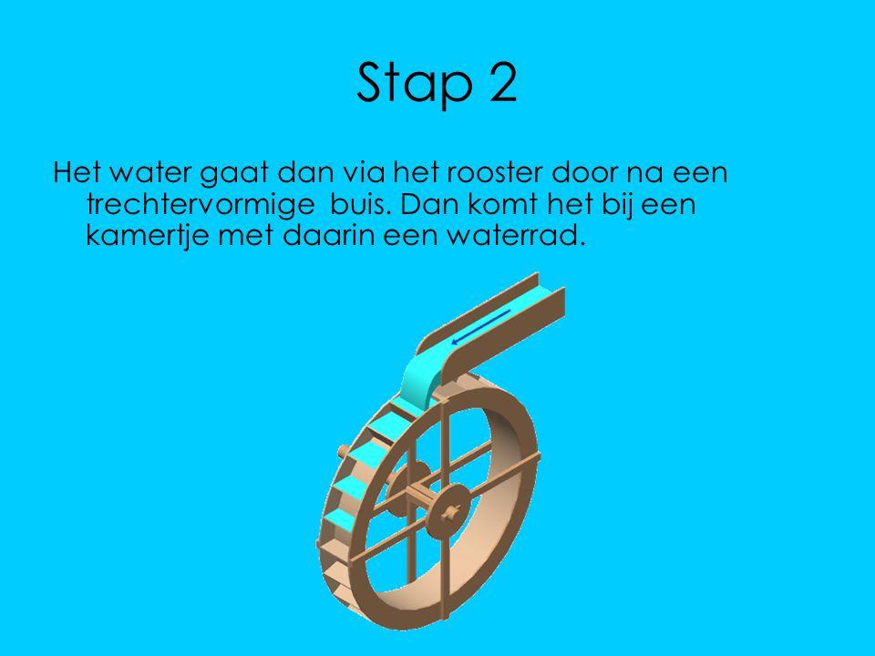 Stap 2 Het water gaat dan via het rooster door na een trechtervormige buis. Dan komt het bij een kamertje met daarin een waterrad.