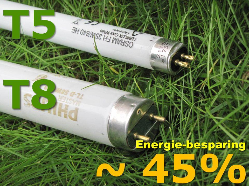 T8T8T5 ~ 45% Energie-besparingEnergie-besparing