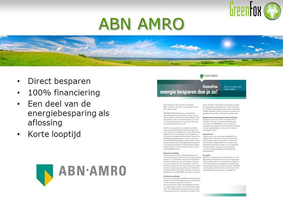 ABN AMRO Direct besparen 100% financiering Een deel van de energiebesparing als aflossing Korte looptijd