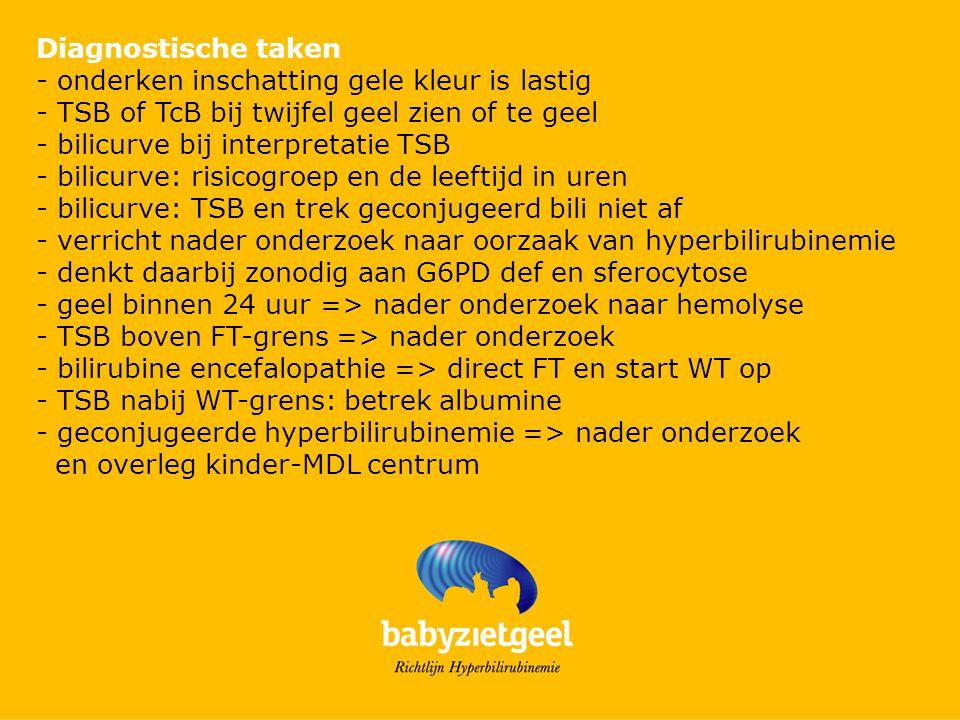 Diagnostische taken - onderken inschatting gele kleur is lastig - TSB of TcB bij twijfel geel zien of te geel - bilicurve bij interpretatie TSB - bili