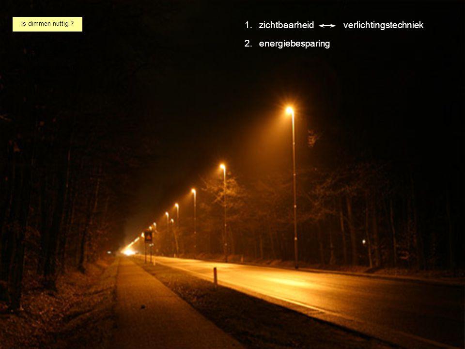 Is dimmen nuttig ? de relatie met beleid ROVL 2011 verlichtingstechniek 1. energiebesparing zichtbaarheidverlichtingstechniek 2.