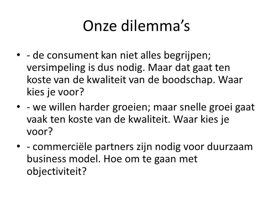 Onze dilemma's - de consument kan niet alles begrijpen; versimpeling is dus nodig.