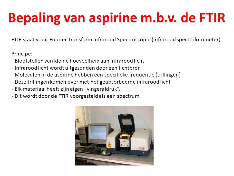 Bepaling van aspirine m.b.v. de FTIR FTIR staat voor: Fourier Transform Infrarood Spectroscopie (infrarood spectrofotometer) Principe: - Blootstellen