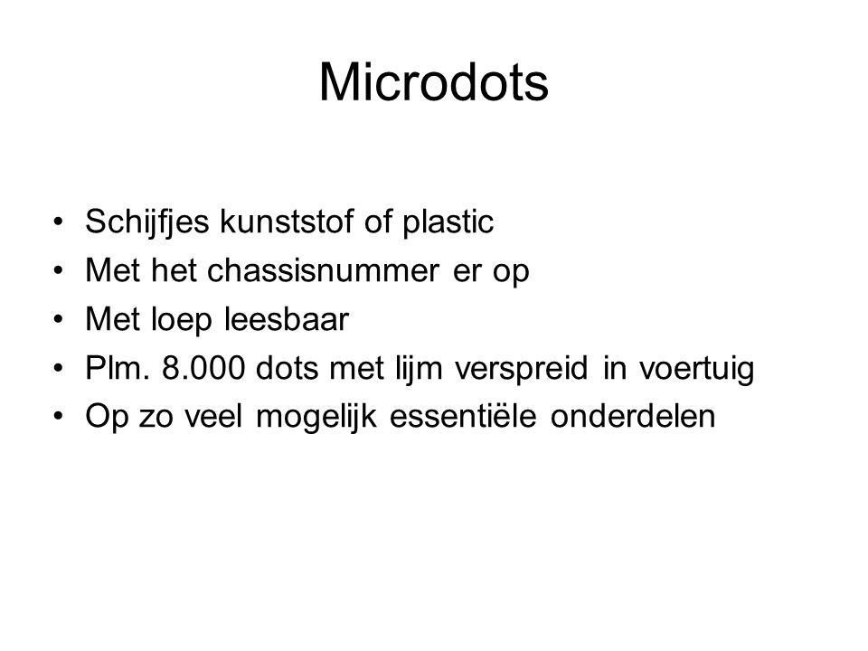 Microdots Schijfjes kunststof of plastic Met het chassisnummer er op Met loep leesbaar Plm.
