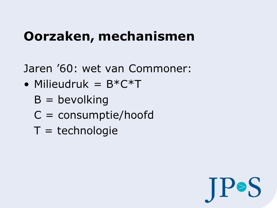 Oorzaken, mechanismen Jaren '60: wet van Commoner: Milieudruk = B*C*T B = bevolking C = consumptie/hoofd T = technologie