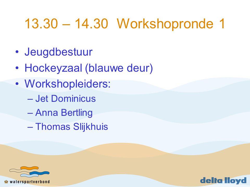 13.30 – 14.30 Workshopronde 1 Jeugdbestuur Hockeyzaal (blauwe deur) Workshopleiders: –Jet Dominicus –Anna Bertling –Thomas Slijkhuis