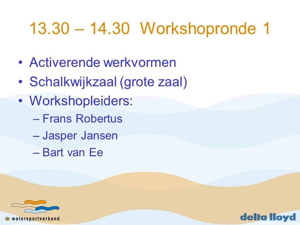 13.30 – 14.30 Workshopronde 1 Activerende werkvormen Schalkwijkzaal (grote zaal) Workshopleiders: –Frans Robertus –Jasper Jansen –Bart van Ee