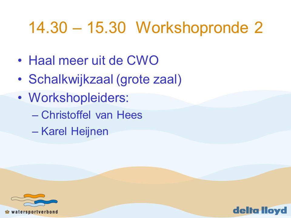 14.30 – 15.30 Workshopronde 2 Haal meer uit de CWO Schalkwijkzaal (grote zaal) Workshopleiders: –Christoffel van Hees –Karel Heijnen