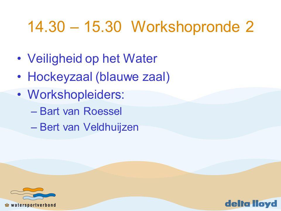 14.30 – 15.30 Workshopronde 2 Veiligheid op het Water Hockeyzaal (blauwe zaal) Workshopleiders: –Bart van Roessel –Bert van Veldhuijzen