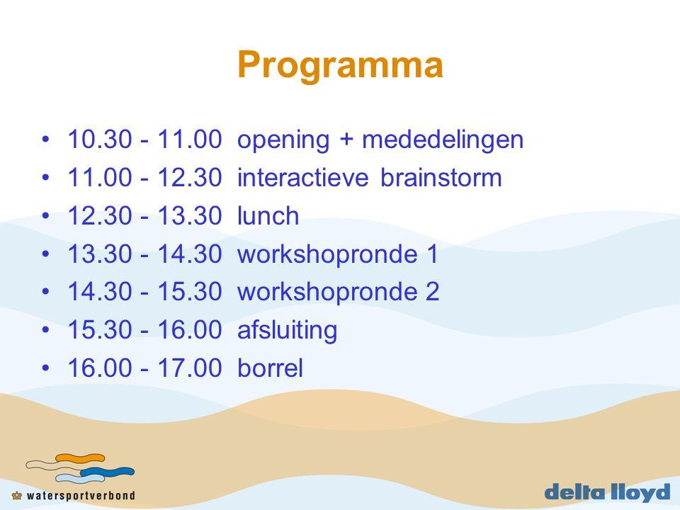 Programma 10.30 - 11.00 opening + mededelingen 11.00 - 12.30 interactieve brainstorm 12.30 - 13.30 lunch 13.30 - 14.30 workshopronde 1 14.30 - 15.30 workshopronde 2 15.30 - 16.00 afsluiting 16.00 - 17.00 borrel