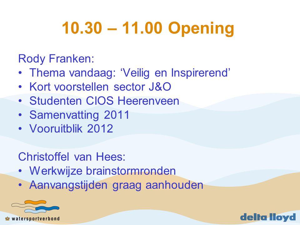 10.30 – 11.00 Opening Rody Franken: Thema vandaag: 'Veilig en Inspirerend' Kort voorstellen sector J&O Studenten CIOS Heerenveen Samenvatting 2011 Voo