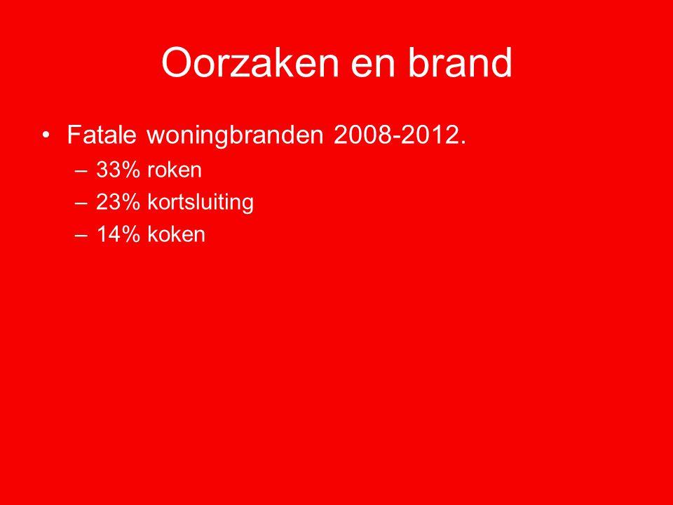 Oorzaken en brand Fatale woningbranden 2008-2012. –33% roken –23% kortsluiting –14% koken