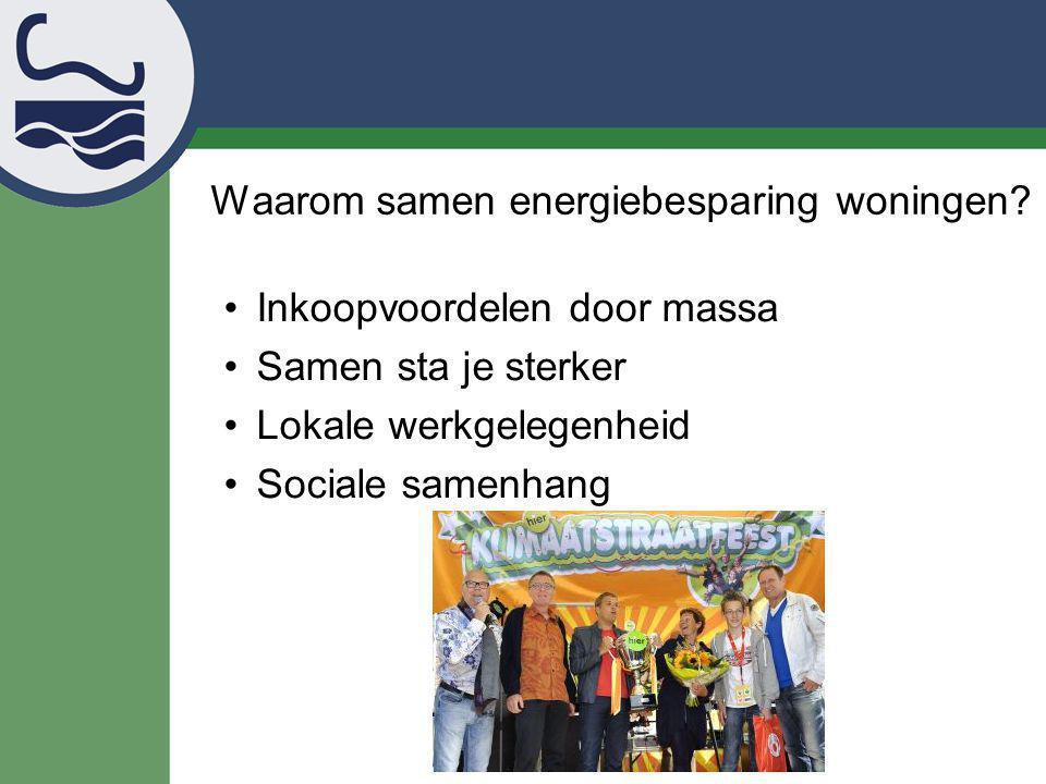 Waarom samen energiebesparing woningen? Inkoopvoordelen door massa Samen sta je sterker Lokale werkgelegenheid Sociale samenhang