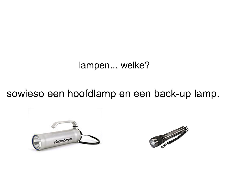lampen... welke? sowieso een hoofdlamp en een back-up lamp.