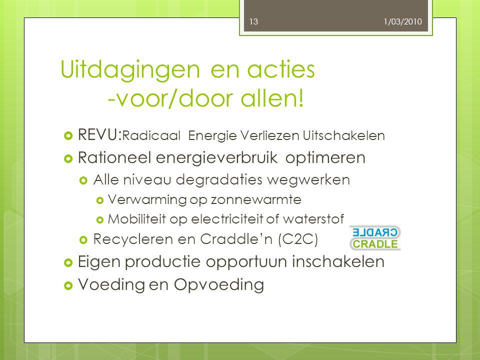 Uitdagingen en acties -voor/door allen!  REVU: Radicaal Energie Verliezen Uitschakelen  Rationeel energieverbruik optimeren  Alle niveau degradatie