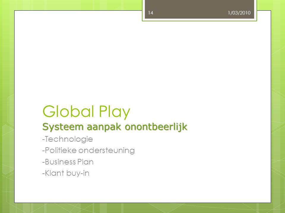 Systeem aanpak onontbeerlijk Global Play Systeem aanpak onontbeerlijk -Technologie -Politieke ondersteuning -Business Plan -Klant buy-in 1/03/201014