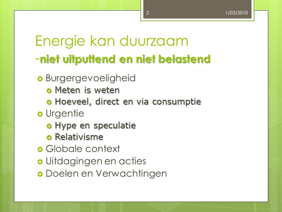 niet uitputtend en niet belastend Energie kan duurzaam - niet uitputtend en niet belastend  Burgergevoeligheid  Meten is weten  Hoeveel, direct en