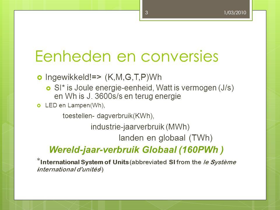 Eenheden en conversies  Ingewikkeld!=> (K,M,G,T,P)Wh  SI* is Joule energie-eenheid, Watt is vermogen (J/s) en Wh is J. 3600s/s en terug energie  LE
