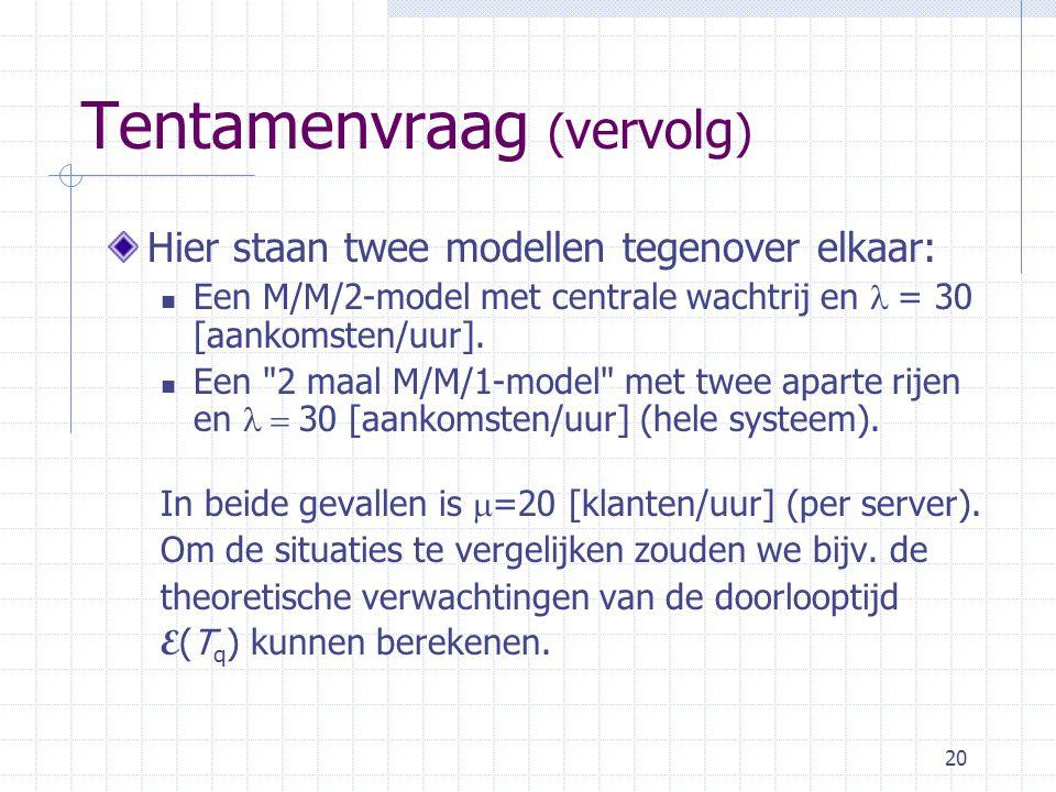 20 Tentamenvraag ( vervolg ) Hier staan twee modellen tegenover elkaar: Een M/M/2-model met centrale wachtrij en  = 30 [aankomsten/uur].