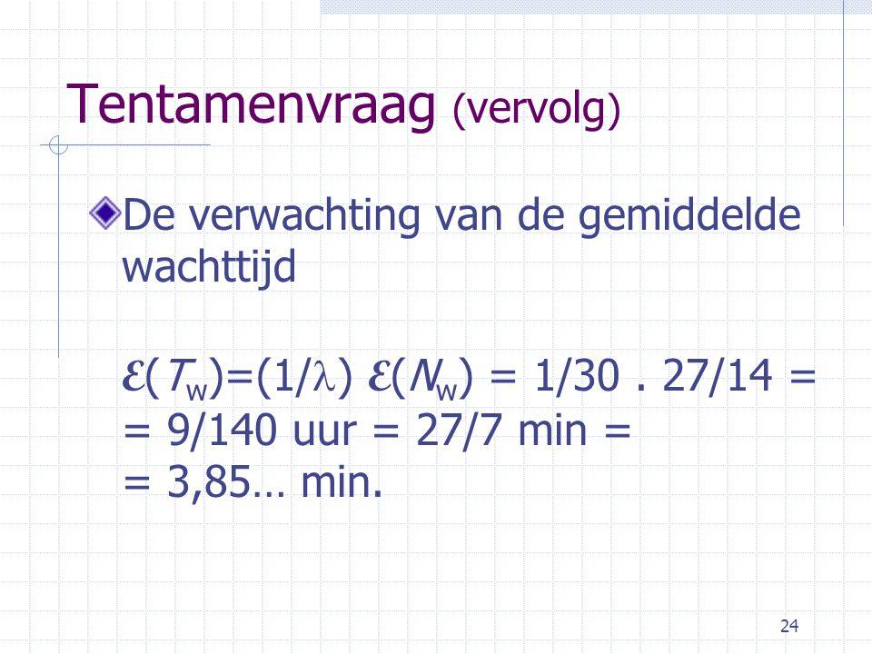 24 Tentamenvraag ( vervolg ) De verwachting van de gemiddelde wachttijd E (T w )=(1/ ) E (N w ) = 1/30.